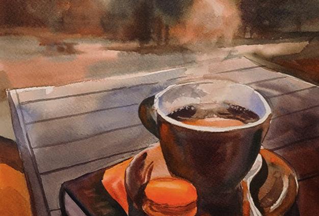 """Original Watercolor Demo """"Morning Cup"""""""