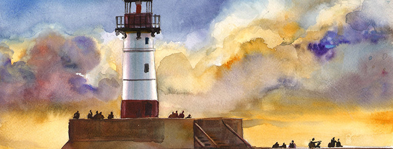 "Original Watercolor Demo ""Duluth Lighthouse"""