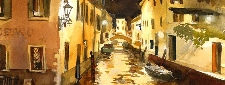 "Original Watercolor Demo ""Venice Canal"""