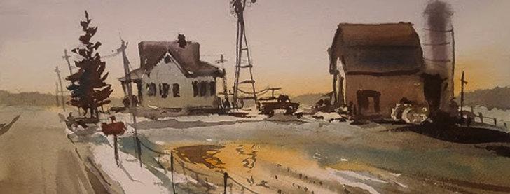 "Original Watercolor Demo ""Spring Grove Farm"""