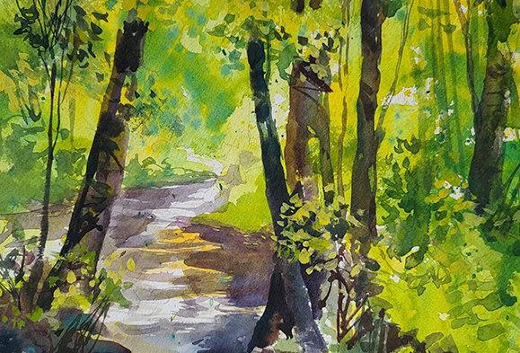"Original Watercolor Demo ""Duluth Trail"""