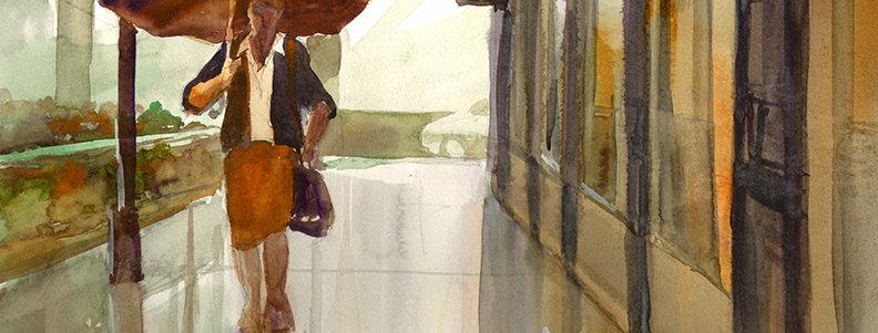 "Original Watercolor Demo ""Rainy Scene #1"""