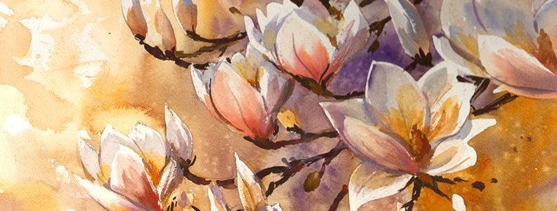 """Original Watercolor Demo """"Blooming Blossoms"""""""
