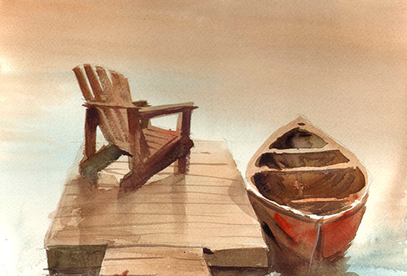 "Original Watercolor Demo ""a day on the lake"""