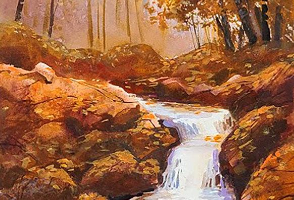 """Original Watercolor Demo """"Fall Runnings"""""""
