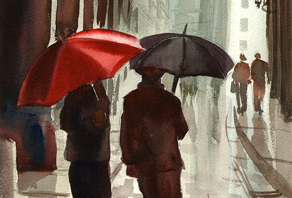 "Original Watercolor Demo ""Umbrellas"""
