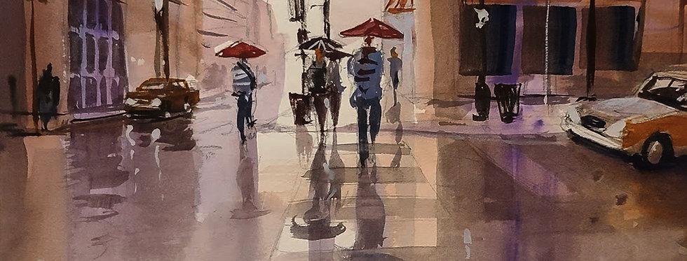 """Original Watercolor Demo """"Chicago Wet Street"""""""