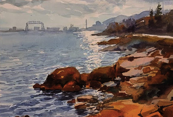 """Original Watercolor Demo """"Northshore Duluth"""""""