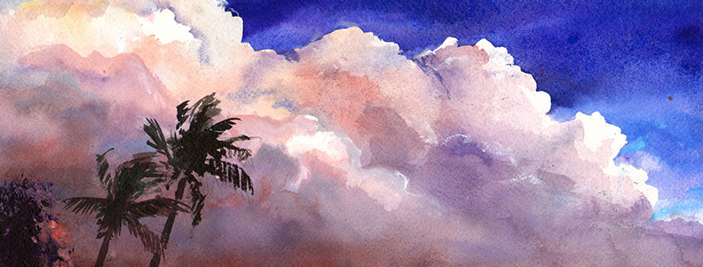 "Original Watercolor Demo ""Florida Beach"""