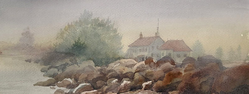 "Original Watercolor Demo ""Coast Guard Station Grand Marais"""