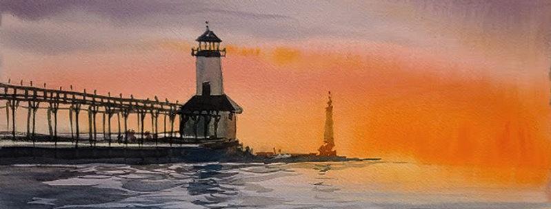 "Original Watercolor Demo ""Michigan City Lighthouse"""