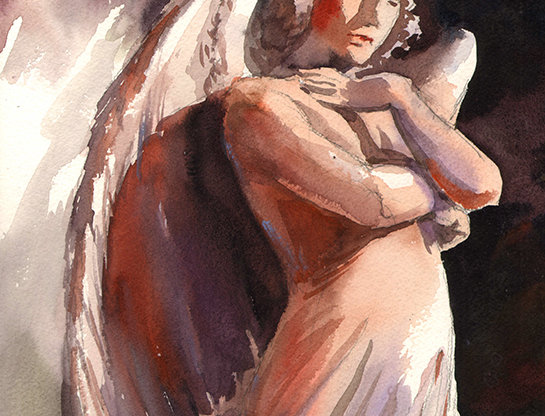 """Original Watercolor Demo """"Guardian Angel"""""""