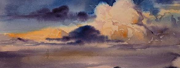 """Original Watercolor Demo """"Blue Skies Smiling at Me"""""""