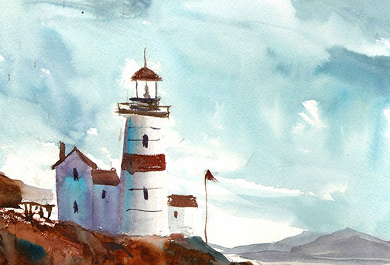 "Original Watercolor Demo ""Lighthouse Bay"""