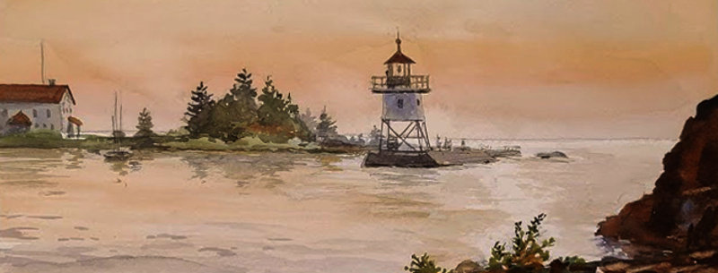 """Original Watercolor Demo """"Other side of Artist Point, Grand Marais"""""""