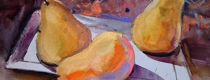 """Original Watercolor Demo """"Pears X3"""""""