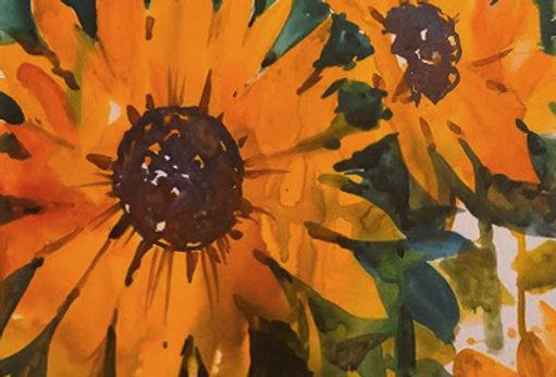 "Original Watercolor Demo ""Sunny Sunflowers"""