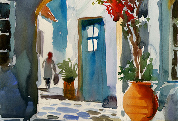 "Original Watercolor Demo ""Blue Door Greece"""