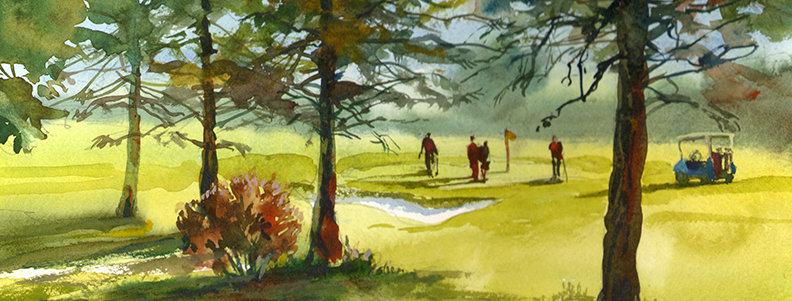 """Original Watercolor Demo """"Northland Golfing"""""""