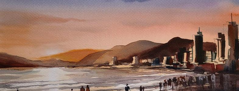 """Original Watercolor Demo """"Beach Sunset"""""""