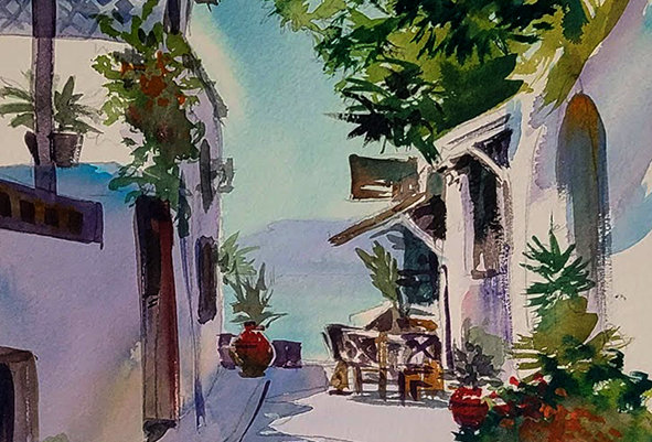 "Original Watercolor Demo ""Greek Island Walkway"""