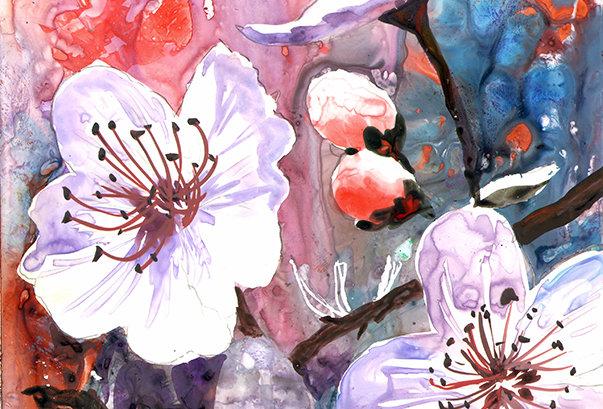 """Original Watercolor Demo """"Flowering Buds"""""""