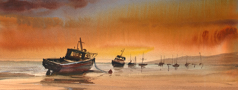 "Original Watercolor Demo ""Low Tide"""