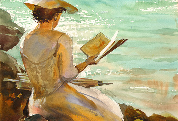 "Original Watercolor Demo ""Beach Reading"""