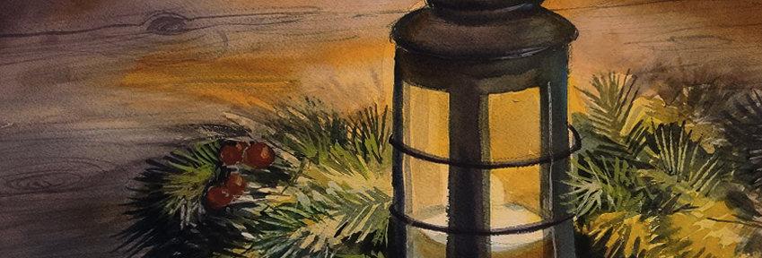 """Original Watercolor Demo """"Holiday Lantern"""""""