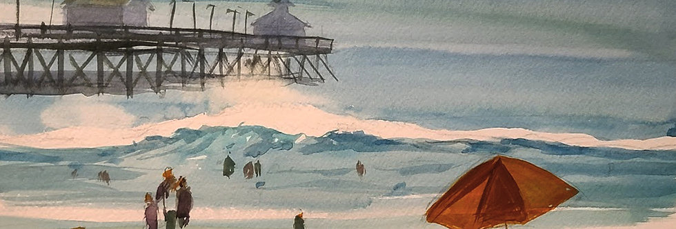 "Original Watercolor Demo ""Day at the Beach"""