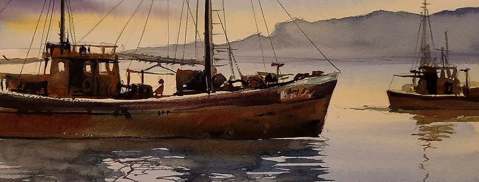 """Original Watercolor Demo """"Harbor Fishing Boat"""""""