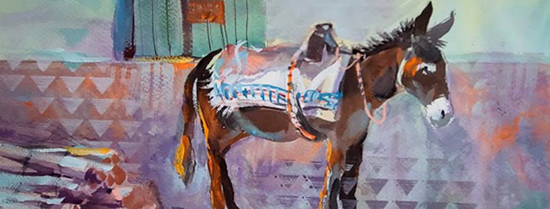 "Original Watercolor Demo ""Donkey"""