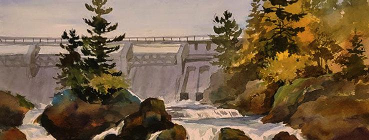 """Original Watercolor Demo """"Thompson Dam Bridge, MN"""""""