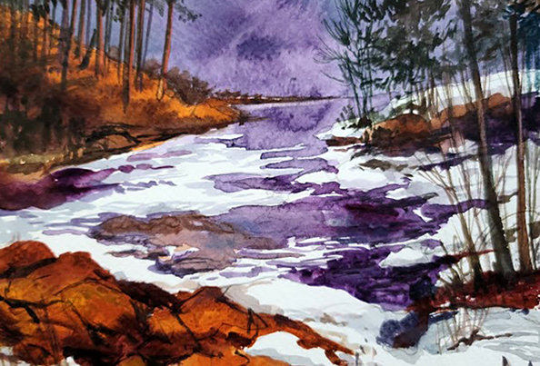"Original Watercolor Demo ""Amity Creek"""