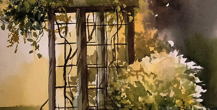 """Original Watercolor Demo """"Judy's Arbor"""""""
