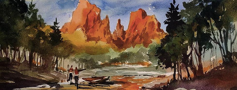 """Original Watercolor Demo """"Sedona Fun"""""""