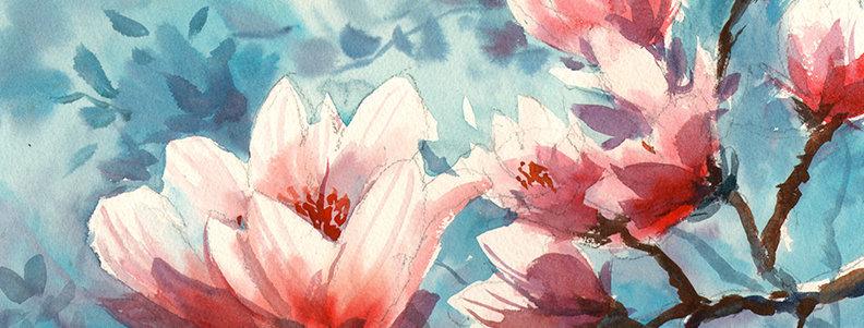 """Original Watercolor Demo """"Magnolia"""""""