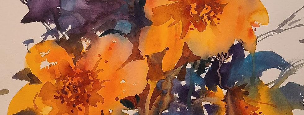 "Original Watercolor Demo ""Orange Flowers"""
