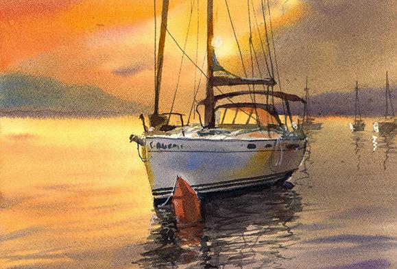 """Original Watercolor Demo """"Sunset Sailboat"""""""