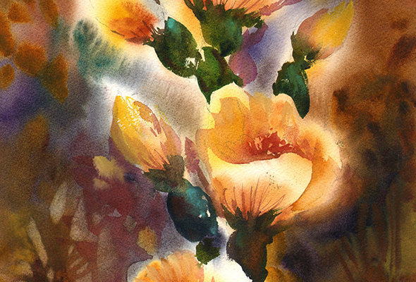 "Original Watercolor Demo ""Flowering Cactus"""