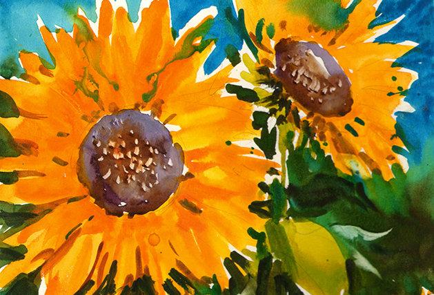 """Original Watercolor Demo """"Sunflowers #2"""""""