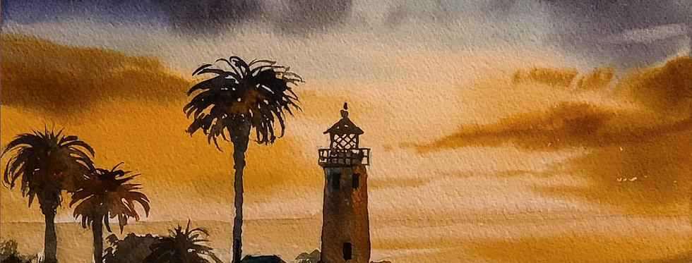 "Original Watercolor Demo ""Sunset Lighthouse"""