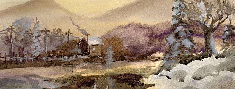 """Original Watercolor Demo """"Snowy River"""""""