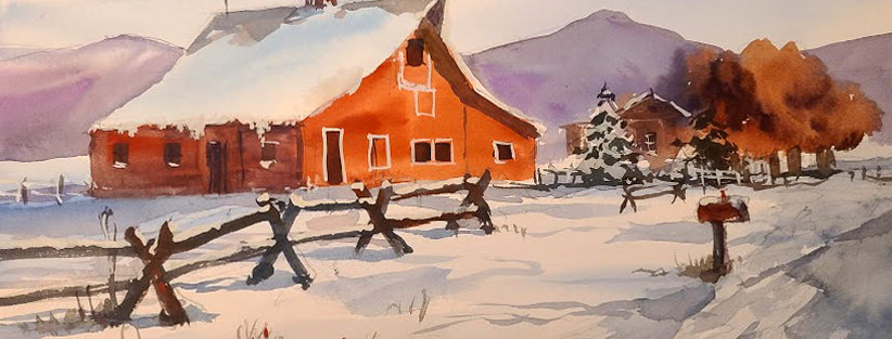"Original Watercolor Demo ""Red Barn"""