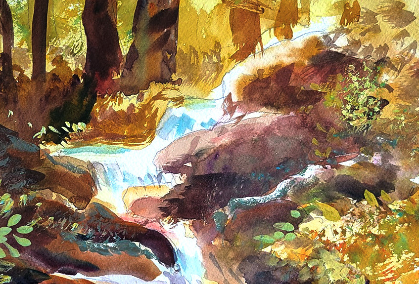 "Original Watercolor Demo ""Rocky Falls"""