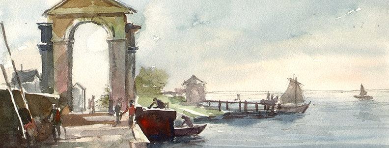 """Original Watercolor Demo """"Euro Arch"""""""