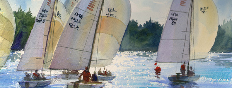 "Original Watercolor Demo ""Sailboat Race"""