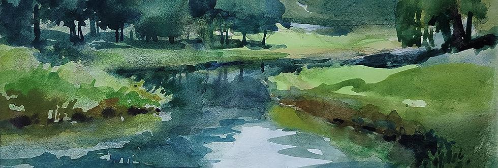 """Original Watercolor Demo """"Green Creek"""""""