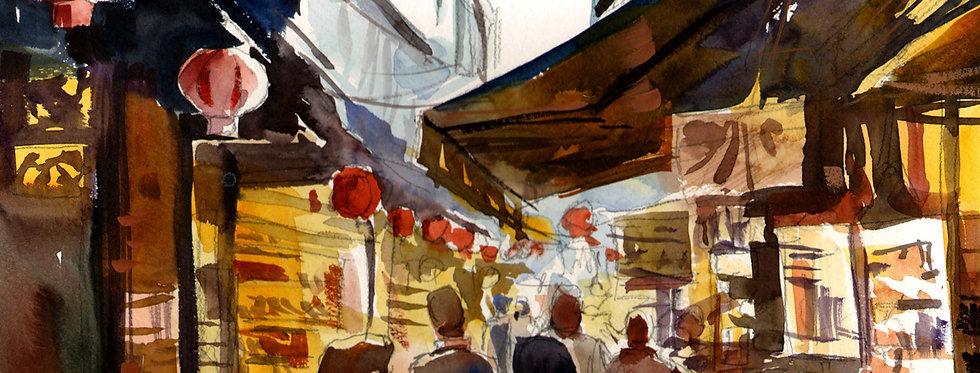 """Original Watercolor Demo """"City Market"""""""
