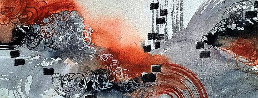 """Original Watercolor Demo """"High Volume"""" Music Love Series"""